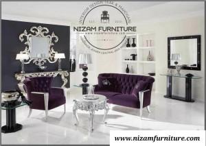 Sofa Mewah Minimalis Mahogani Silver